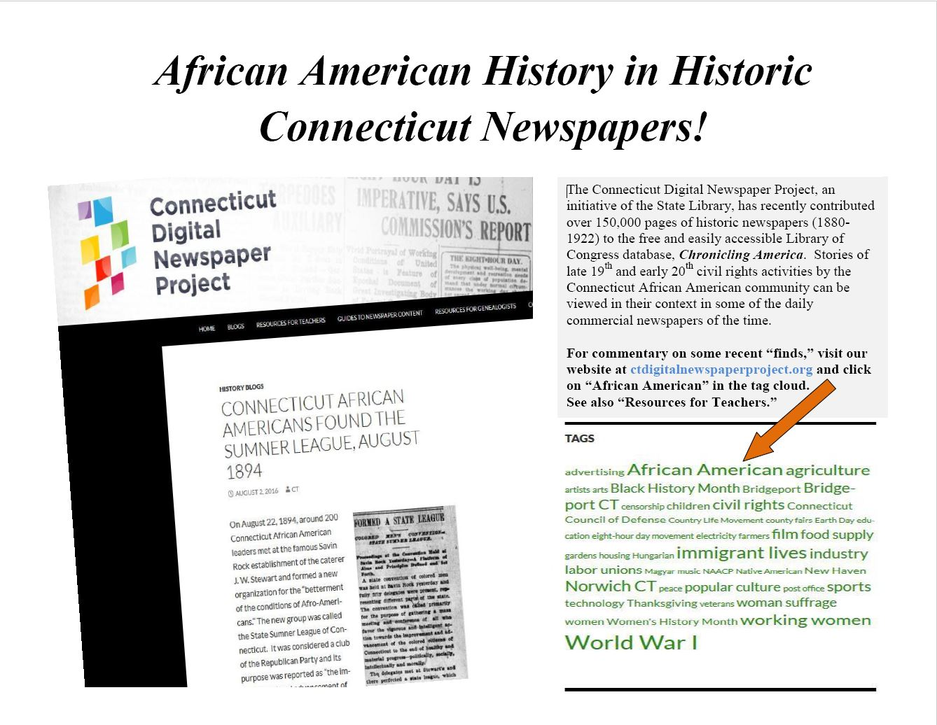 Picture of tag cloud with link to blogs and topic guides dealing with African American history in historic CT newspapers.