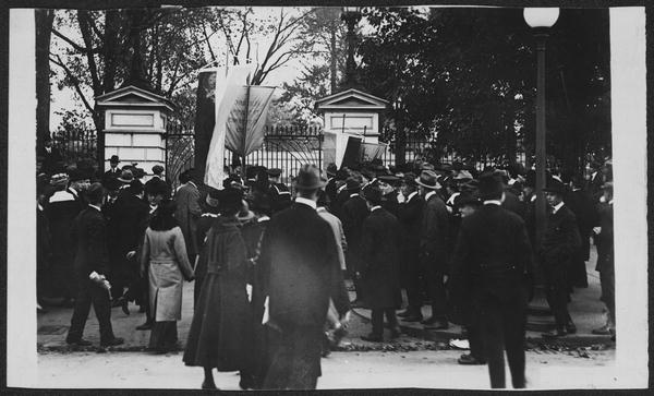 "From the Photo Collection of the Library of Congress. ""Sailors Attacking Pickets, 1917 . . ."" Harris & Wing, Washington, D.C."