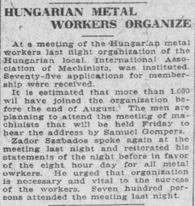 Hungarian Metal Workers hold meeting of 700 in July of 1919.