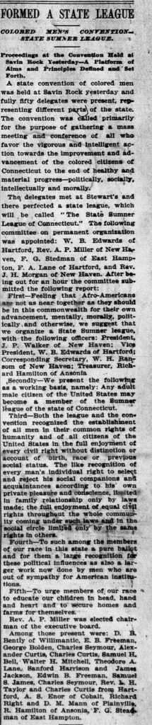 Clipping that carries news of formation of African American group named the Sumner League.