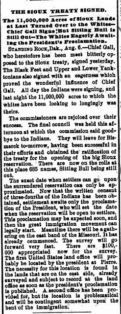 Report of the signing of an 1889 treaty which grants 9 million acres of Indian land to white settlers.