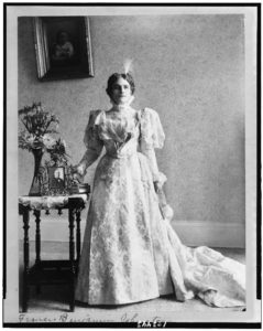 Library of Congress photo of the Ida McKinley in her inaugural gown from 1897.