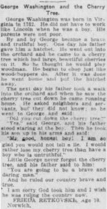 Short article about cherry tree anecdote by student Frieda Retkovske.