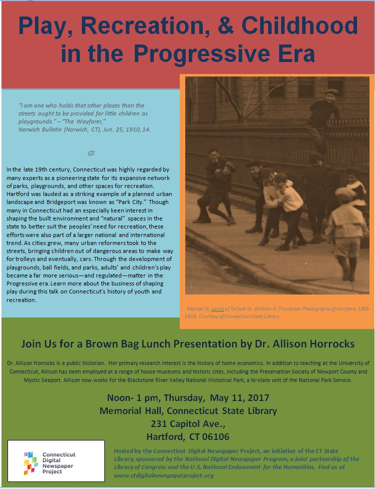 flyer for lecture with rose, blue, orange, and green color blocks