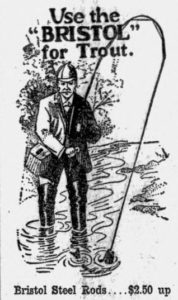 "illustration of tweed-clad gentlemen in wading boots using a ""Bristol steel rod"" to catch trout."