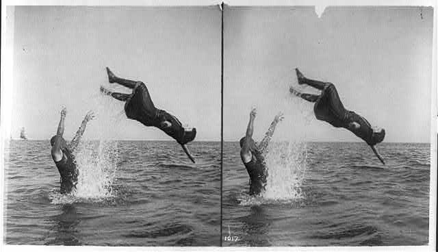 A two-sequence photo of a man tossing a woman in a bathing suit with bloomers into the waves.