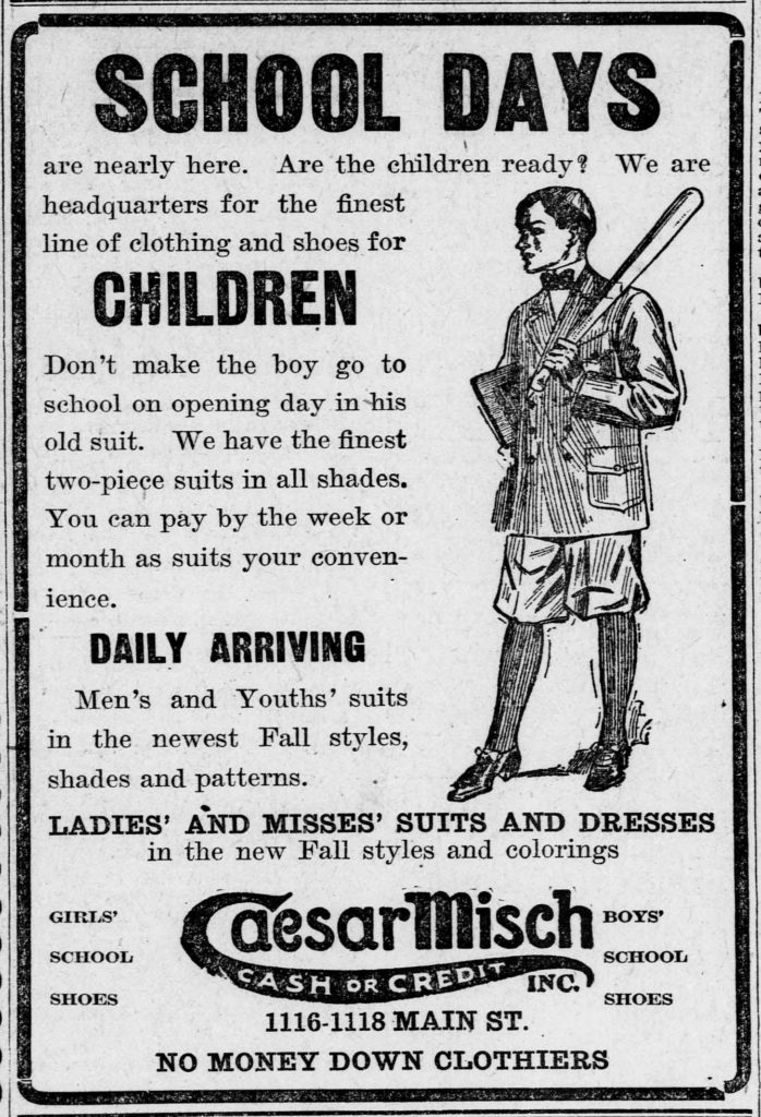 Advertisement for children's back to school clothing with illustration of boy in suit with knickers and a basefall bat.