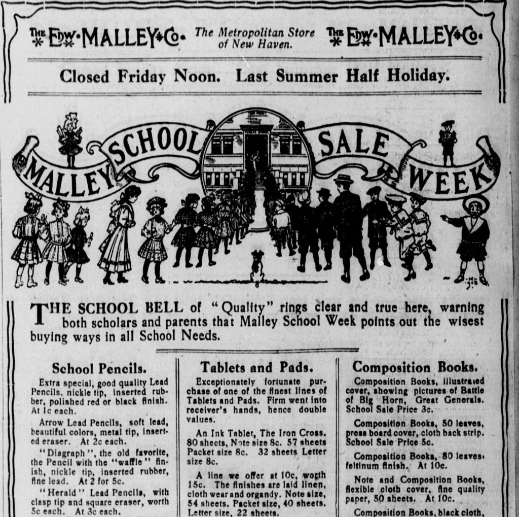 Back to School Sale ad with illustration of children streaming into school.