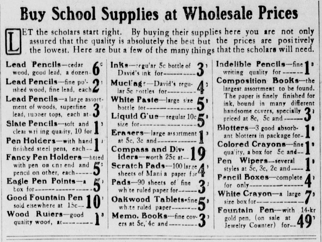 A clipping from an ad that shows the prices, in cents, of various school supplies.