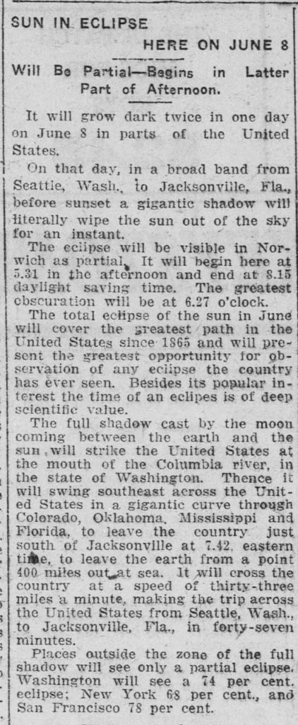 A clipping of an article on the solar eclipse soon to be visble in Connecticut in 1918.