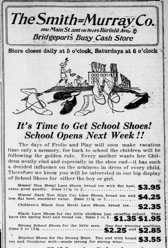 Advertisement with illustraton of children's shoes with a child and a schoolhouse in the background.