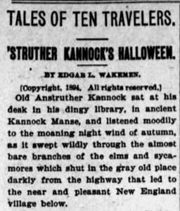 Clipping of first paragraph of the Halloween story.