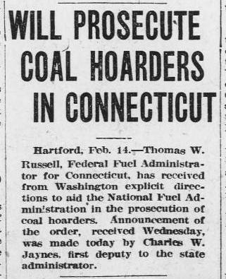 "Image of newspaper clipping with headline "" Will Prosecute Coal Horders."""