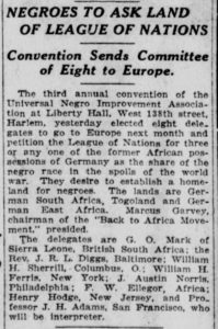 Clipping from the New York Herald, August 3, 1922, p. 22.