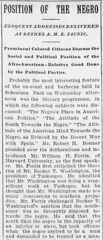 A newspaper clipping taken from a September 10, 1898 article in the New Haven Daily Morning Journal and Courier.