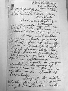 image of page one of a handwritten letter sent by Ferris to George Godard, the State Librarian of the time.
