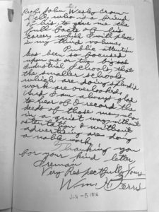 Image of page two of a handwritten letter sent by Ferris to George Godard, the State Librarian of the time.