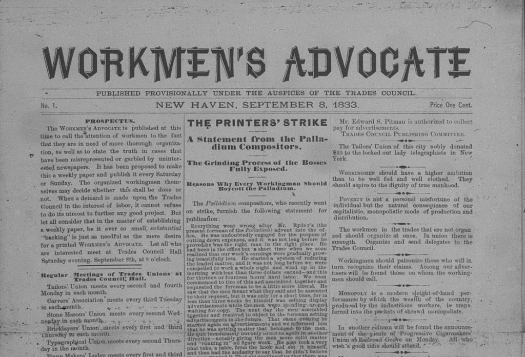 An image of the top half of the front page of the New Haven Workmen's Advocate, Sept. 8, 1883.
