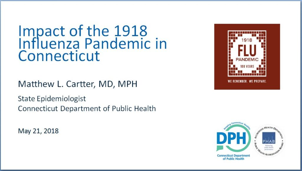 Image of opening slide for a presentation on the influenza epidemic of 1918,