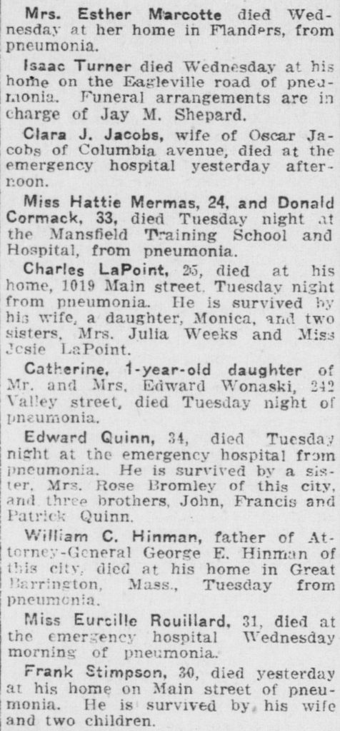A clipping from the Norwich Bulletin that lists the obituaries of flu victims.