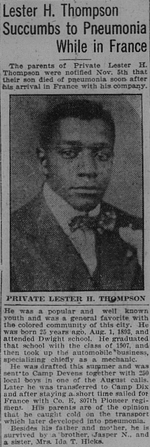 A newspaper clipping with the obituary of Lester H. Thompson