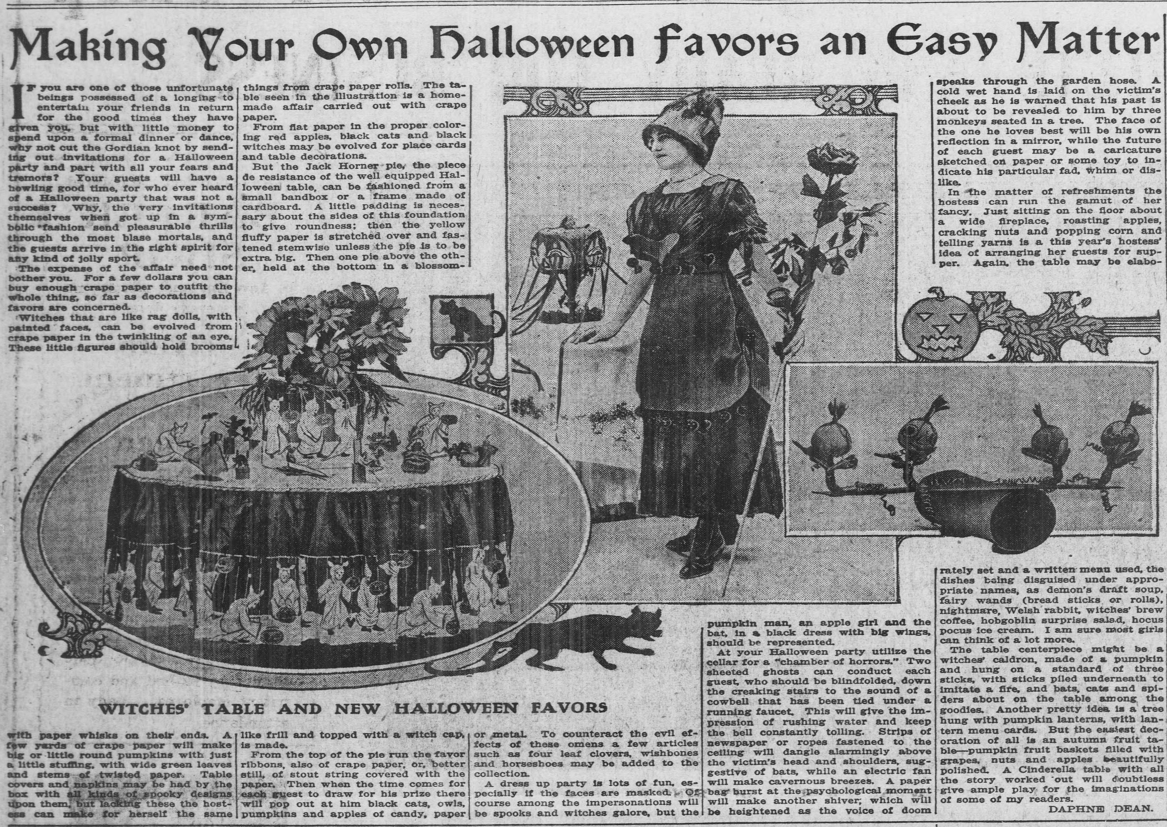Half page article describing how to make affordable favors for a Halloween party. Iluustratio of table settings and a Jack Horner pie.