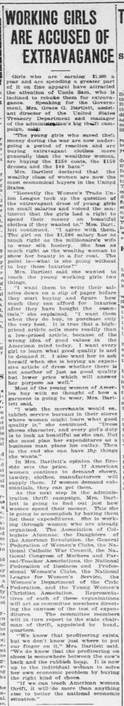 "Newspaper column clipped with the title ""Working Girls are Accussed of Extravagance."