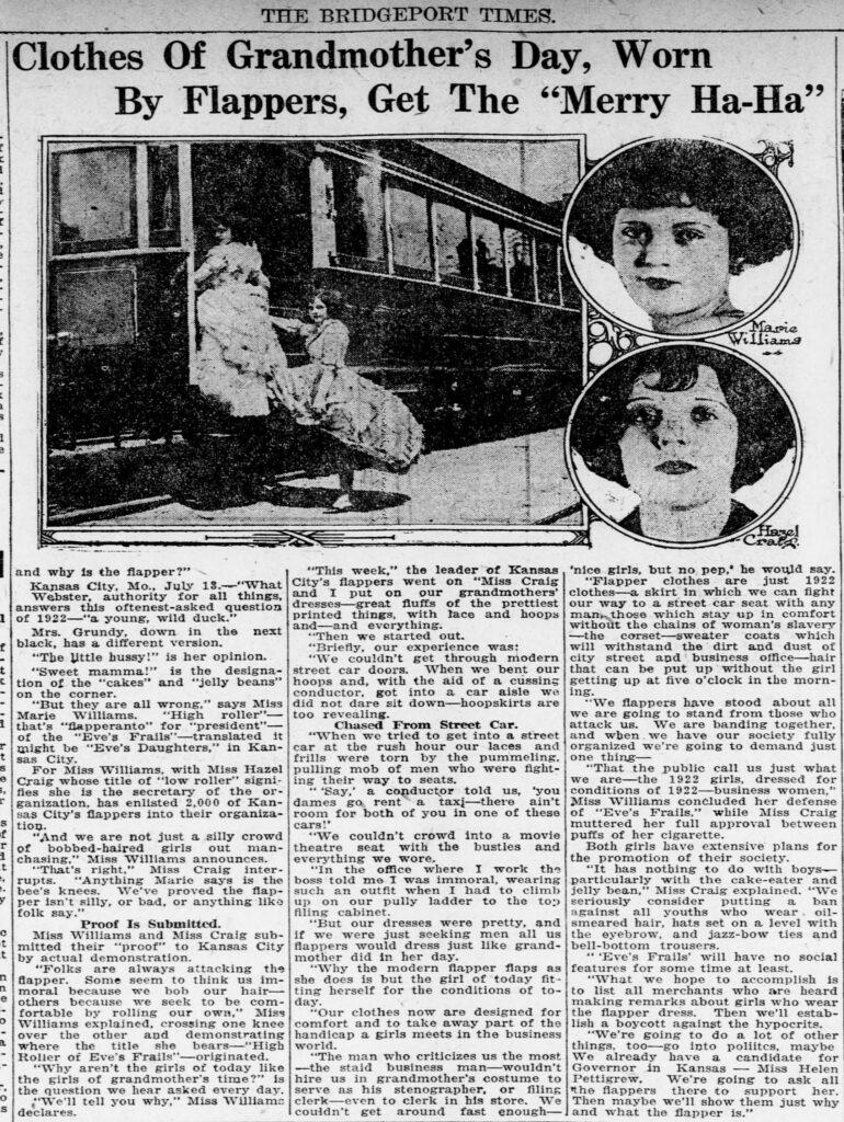 Newspaper clipping with photo of two young flappers dressed in their grandmothers' hoop skirts and unable to fit through a trolley door.