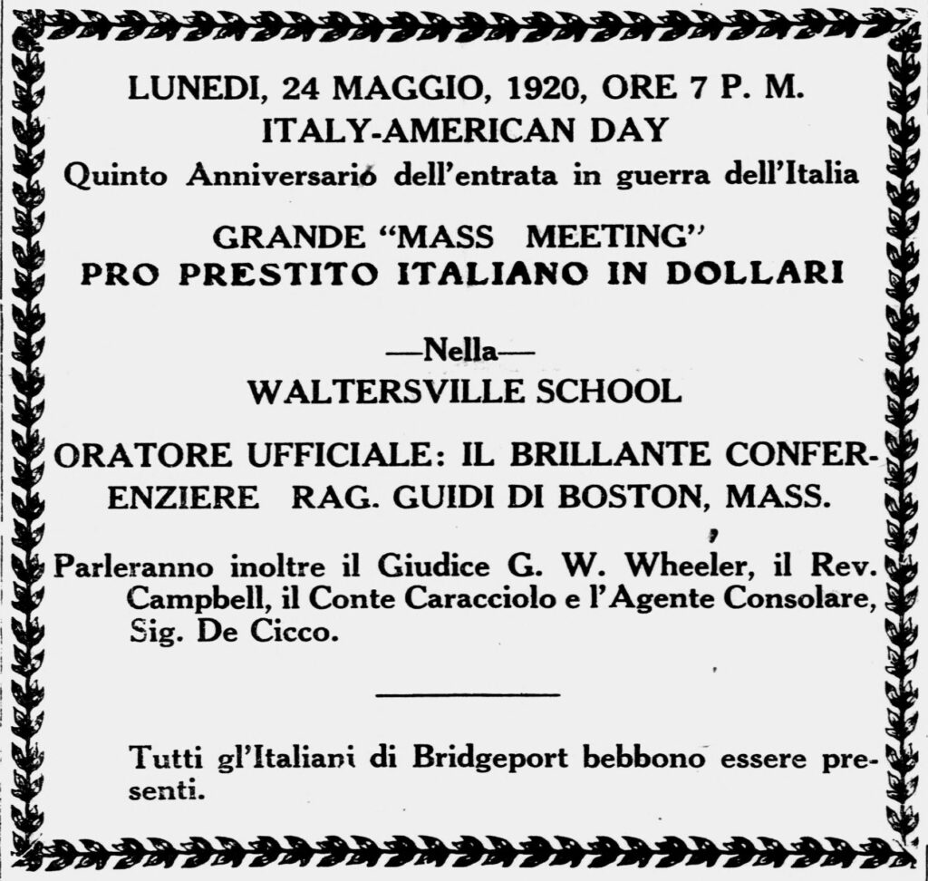 An announcment in a weekly Italian-language paper for a commemoration of Italy's role in World War I