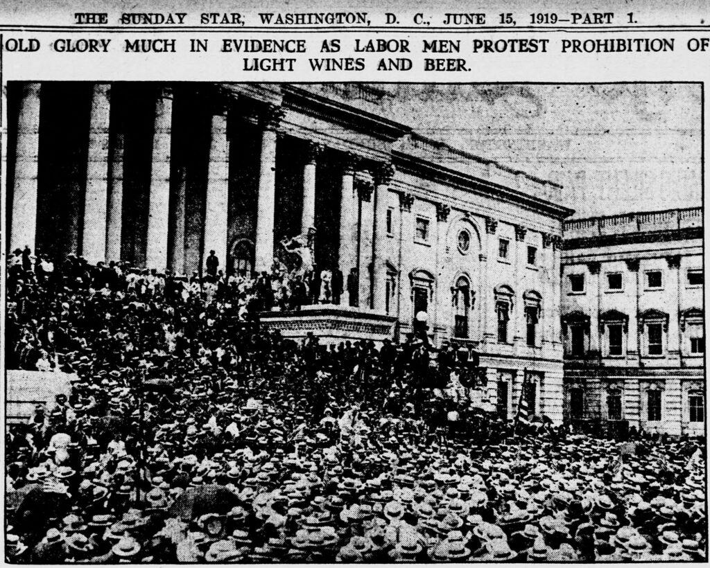 The photo shows the masses of anti-prohibition protestors on the steps of the U.S. Capitol building as described in the text.