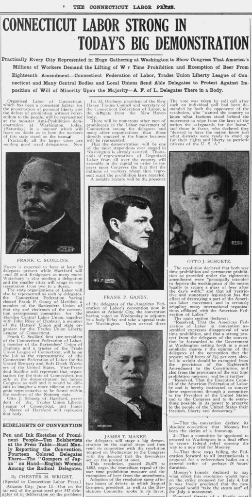 The clipping demonstrates the attention that Connecticut labor gave to the June 15, 1919 protest by describing who attended and imaging some of the leaders.