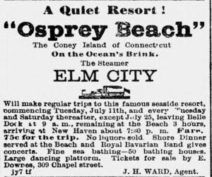 An advertisement for a steamer excursion to Osprey Beach, showing the fare.