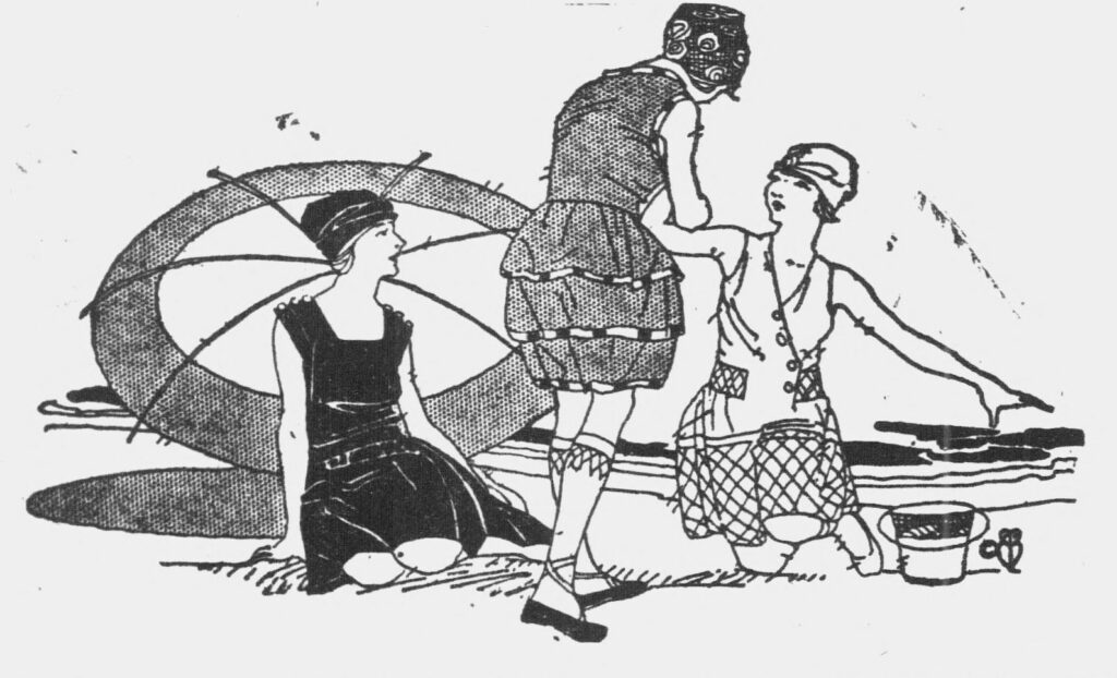 This is an illustration of women enjoying the beach at Savin Rock in order to get readers to patronize businesses there.