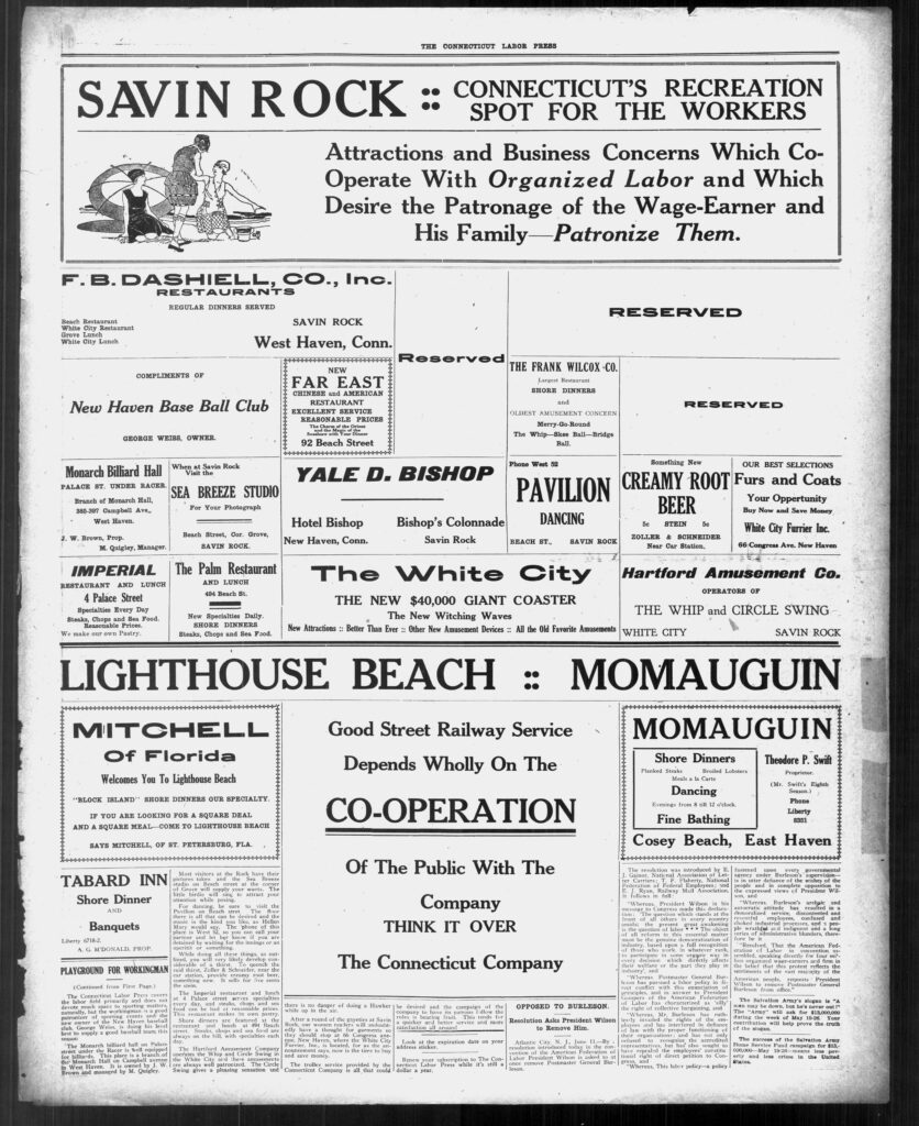 This is a clipping of a page of advertisements to draw readers to Savin Rock amusement park.