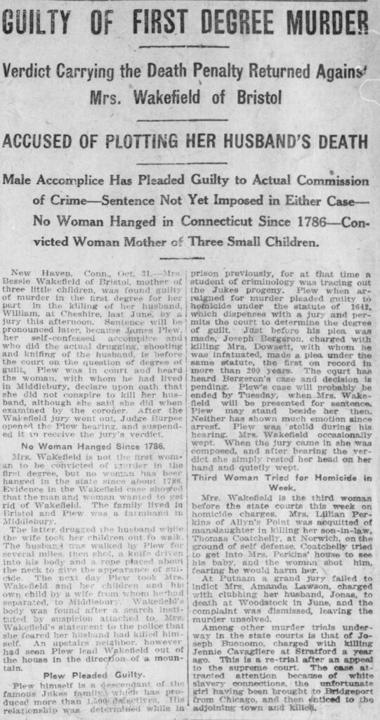 """Clipping of article called """"Guilty of First Degree Murder"""" in the November 1, 1913, issue of the Norwich Bulletin"""