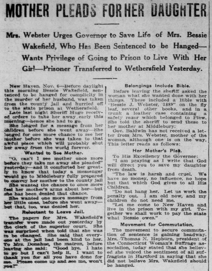 """Clipping of an article entitled """"Mother Pleads for Her Daughter"""" from the November 7, 1913, issue of the Norwich Bulletin"""