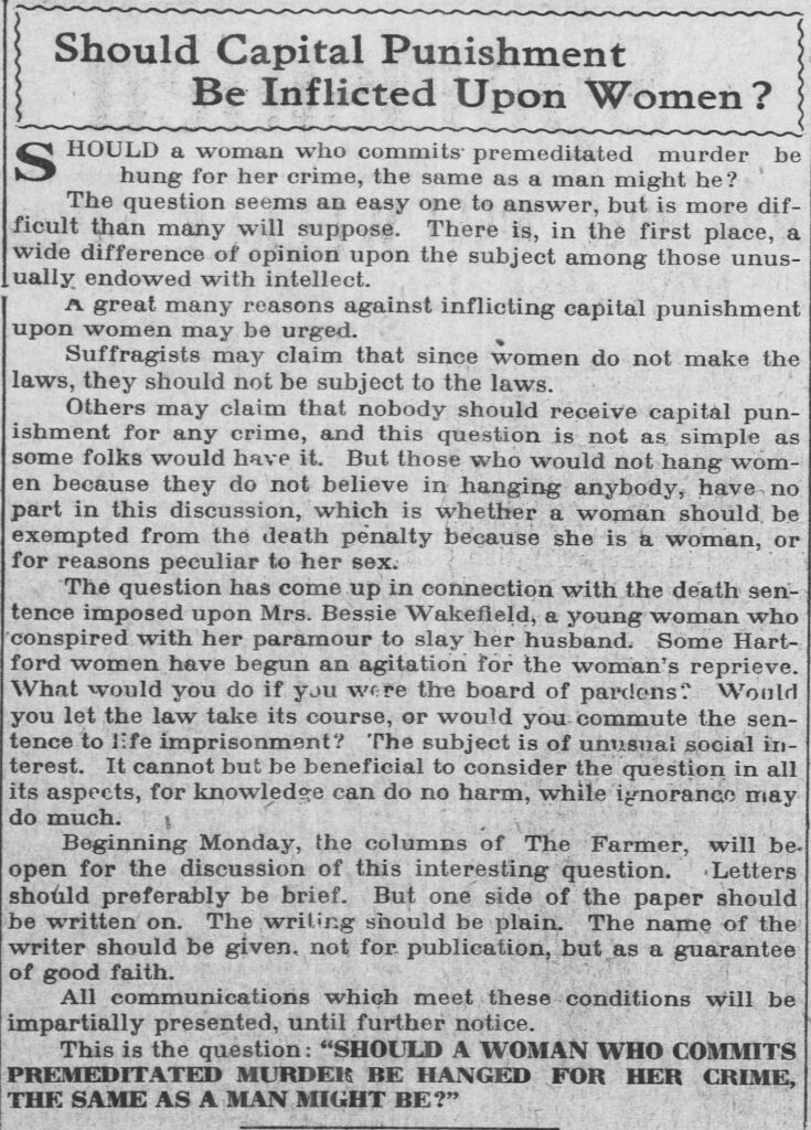 """Clipping of an article entitled """"Should Capital Punishment Be Inflicted Upon Women?"""" from the November 8, 1913, issue of the Bridgeport Evening Farmer"""