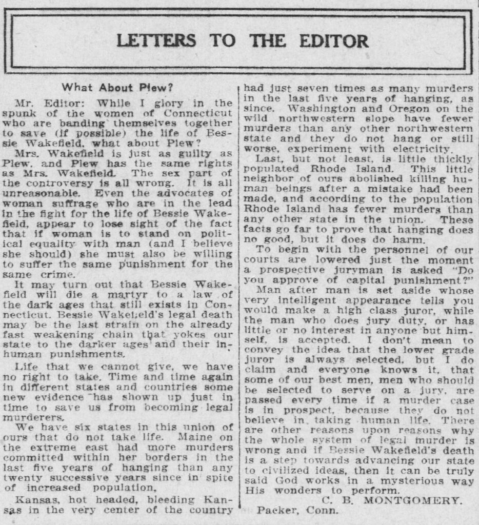"""Clipping of an article entitled """"Letters to the Editor; What About Plew?"""" from the November 18, 1913, issue of the Norwich Bulletin"""