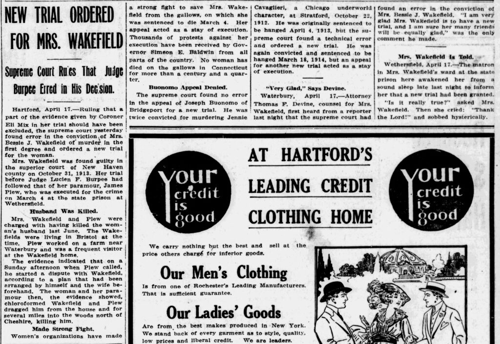 """Clipping of an article entitled """"New Trial Ordered for Mrs. Wakefield"""" from the April 17, 1914, issue of the New Britain Herald"""