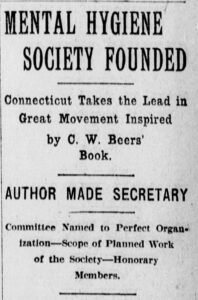 """Clipping from newspaper article """"Mental Hygiene Society Founded,"""" The Morning Journal-Courier, May 07, 1908"""