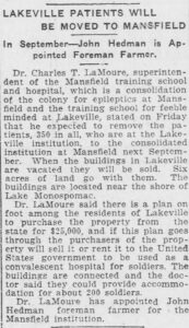 """Clipping of article """"Lakeville Patients Will Be Moved to Mansfield,"""" Norwich Bulletin, July 6, 1918"""
